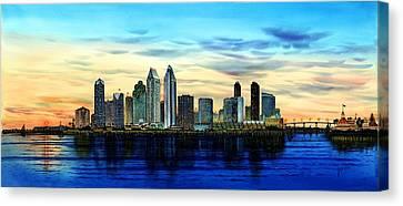 San Diego Skyline And Coronado At Dusk U.s.a Canvas Print by John YATO