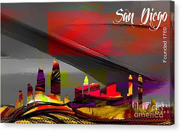 San Diego Skyline Watercolor Canvas Print by Marvin Blaine