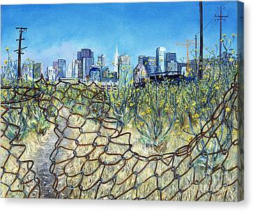 San Francisco And Flowery Vagabond Path Of Yesterday Canvas Print by Asha Carolyn Young