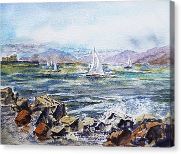 San Francisco Bay From Richmond Shore Line Canvas Print by Irina Sztukowski