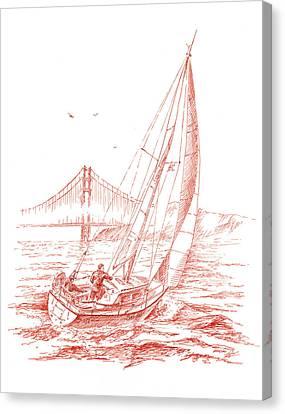 San Francisco Bay Sailing To Golden Gate Bridge Canvas Print by Irina Sztukowski