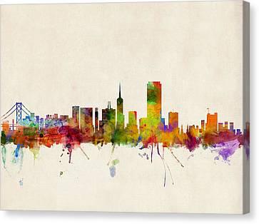 San Francisco City Skyline Canvas Print by Michael Tompsett