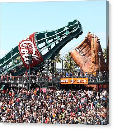 San Francisco Giants Baseball Ballpark Fan Lot Giant Glove And Bottle 5d28241 Square Canvas Print by Wingsdomain Art and Photography