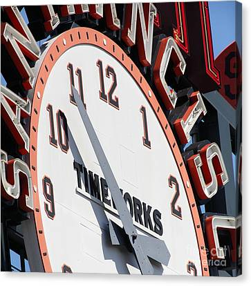 San Francisco Giants Baseball Scoreboard And Clock 5d28234 Square Canvas Print by Wingsdomain Art and Photography