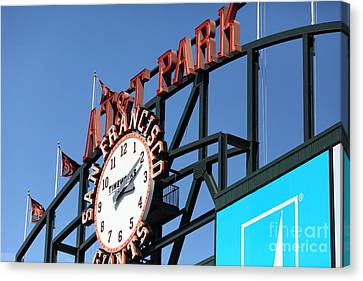 San Francisco Giants Baseball Scoreboard And Clock 5d28243 Canvas Print by Wingsdomain Art and Photography