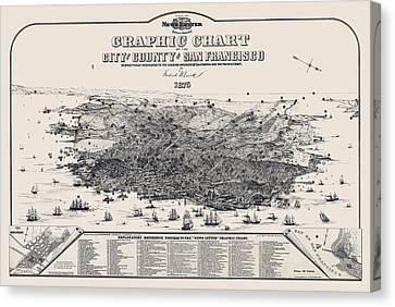 San Francisco Graphic Map 1875 Canvas Print by Daniel Hagerman