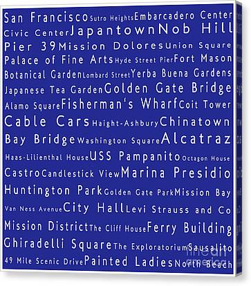 San Francisco In Words Blue Canvas Print by Sabine Jacobs