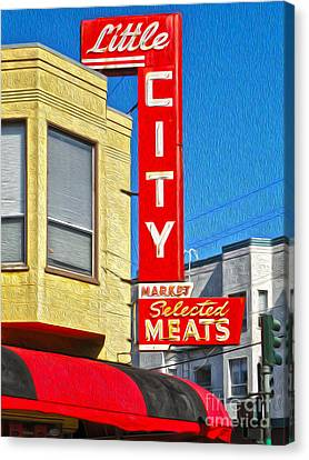 San Francisco - Little City Meats Canvas Print by Gregory Dyer