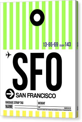 San Francisco Luggage Tag Poster 2 Canvas Print by Naxart Studio