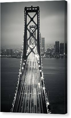 San Francisco - Oakland Bay Bridge Bw Canvas Print by Adam Romanowicz
