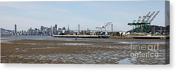 San Francisco Skyline And The Bay Bridge Through The Port Of Oakland 5d22238 Canvas Print by Wingsdomain Art and Photography