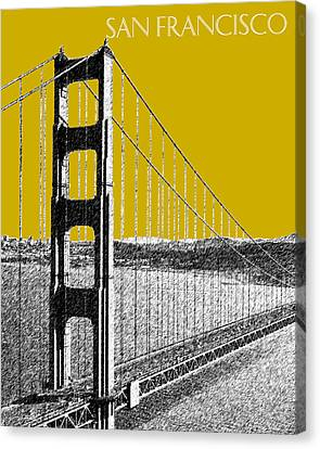 San Francisco Skyline Golden Gate Bridge 1 - Gold Canvas Print by DB Artist