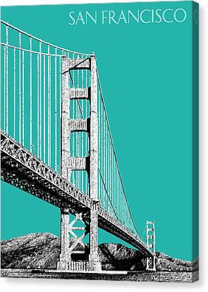San Francisco Skyline Golden Gate Bridge 2 - Teal Canvas Print by DB Artist