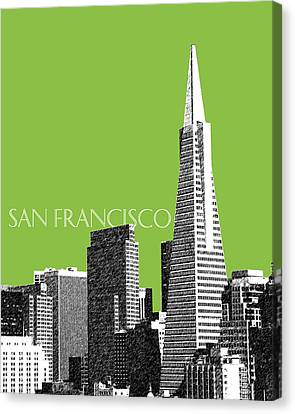 San Francisco Skyline Transamerica Pyramid Building - Olive Canvas Print by DB Artist