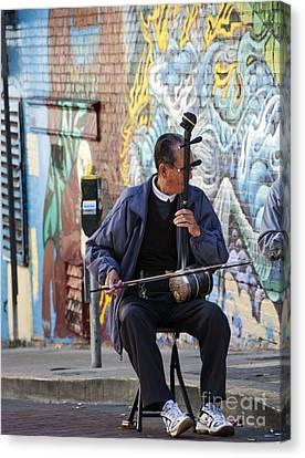 San Francisco Street Musician Canvas Print by Juli Scalzi