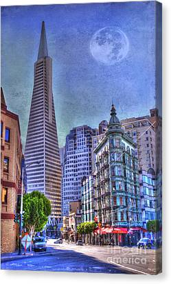 San Francisco Transamerica Pyramid And Columbus Tower View From North Beach Canvas Print by Juli Scalzi