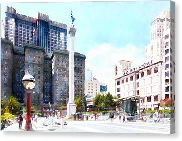 San Francisco Union Square 5d17933wcstyle Canvas Print by Wingsdomain Art and Photography