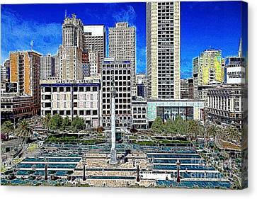 San Francisco Union Square 5d17938 Artwork Canvas Print by Wingsdomain Art and Photography