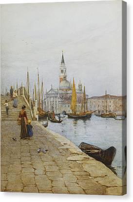 San Giorgio Maggiore From The Zattere Canvas Print by Helen Allingham