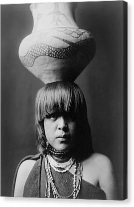 San Ildefonso Girl Circa 1927 Canvas Print by Aged Pixel