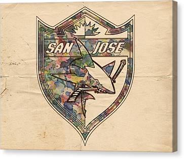 San Jose Sharks Retro Poster Canvas Print by Florian Rodarte