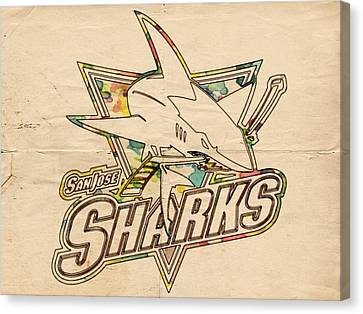 San Jose Sharks Vintage Poster Canvas Print by Florian Rodarte