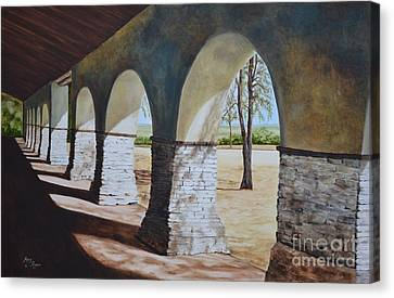 San Juan Bautista Mission Canvas Print by Mary Rogers