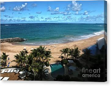 San Juan Beach View Canvas Print by John Rizzuto