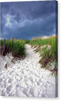 Sand Dune Under Storm Canvas Print by Olivier Le Queinec