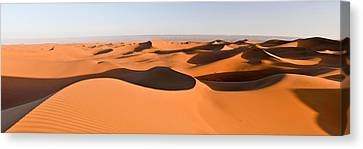 Sand Dunes In A Desert, Erg Chigaga Canvas Print by Panoramic Images