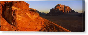 Sand Dunes In A Desert, Jebel Um Canvas Print by Panoramic Images