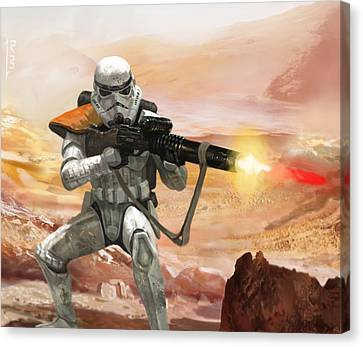 Star Canvas Print featuring the digital art Sand Trooper - Star Wars The Card Game by Ryan Barger