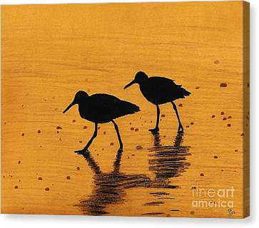 Sandpipers - At - Sunrise Canvas Print by D Hackett
