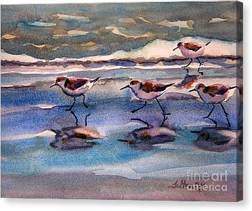 Sandpipers Running In Beach Shade 3-10-15 Canvas Print by Julianne Felton