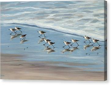Sandpipers Canvas Print by Tina Obrien