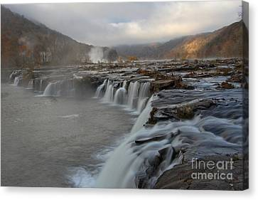 Sandstone Falls At New River Gorge Canvas Print by Adam Jewell