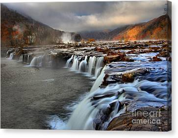 Sandstone Falls In Sandstone West Virginia Canvas Print by Adam Jewell