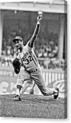 Sandy Koufax Throwing The Ball Canvas Print by Florian Rodarte