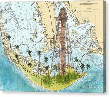 Sanibel Island Lighthouse Fl Nautical Chart Map Art Cathy Peek Canvas Print by Cathy Peek