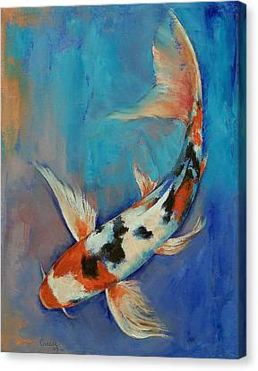 Sanke Butterfly Koi Canvas Print by Michael Creese