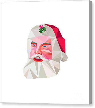 Santa Claus Father Christmas Low Polygon Canvas Print by Aloysius Patrimonio