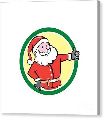 Santa Claus Father Christmas Thumbs Up Circle Cartoon Canvas Print by Aloysius Patrimonio