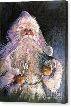 Santa Claus - Sweet Treats At Fireside Canvas Print by Shelley Schoenherr