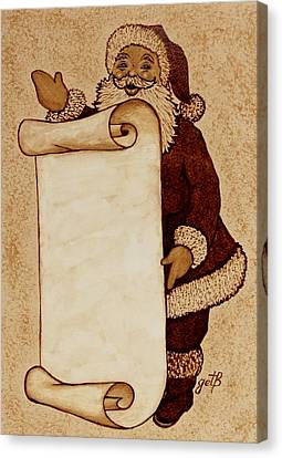 Santa Claus Wishlist Original Coffee Painting Canvas Print by Georgeta  Blanaru