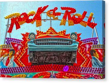 Santa Cruz Boardwalk - Rock And Roll Canvas Print by Gregory Dyer