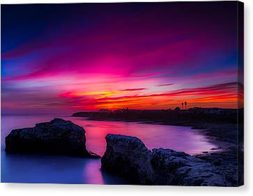 Santa Cruz Cliffs Sunset Photo Santa Cruz California Canvas Print by Dave Gordon
