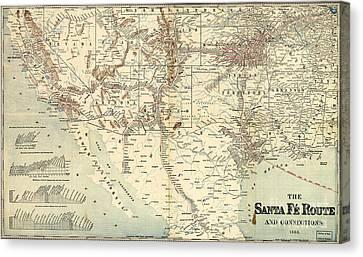 Santa Fe Railroad Routes  1888 Canvas Print by Pg Reproductions