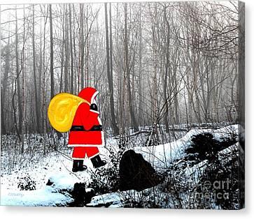 Santa In Christmas Woodlands Canvas Print by Patrick J Murphy