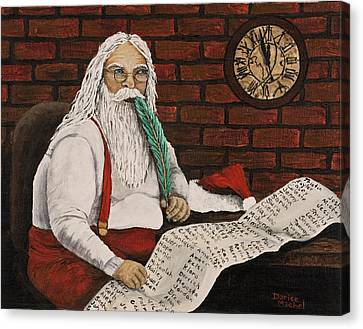 Santa Is Checking His List Canvas Print by Darice Machel McGuire