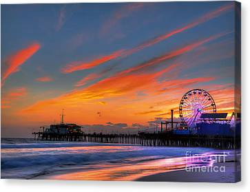 Santa Monica Pier At Dusk Canvas Print by Eddie Yerkish